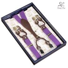 Kangdai 2017 Modern Suspenders Women/Men Adjustable Braces Stainless 6Clips Detachable Belt for Dress/Overalls Suspenders/WYY601