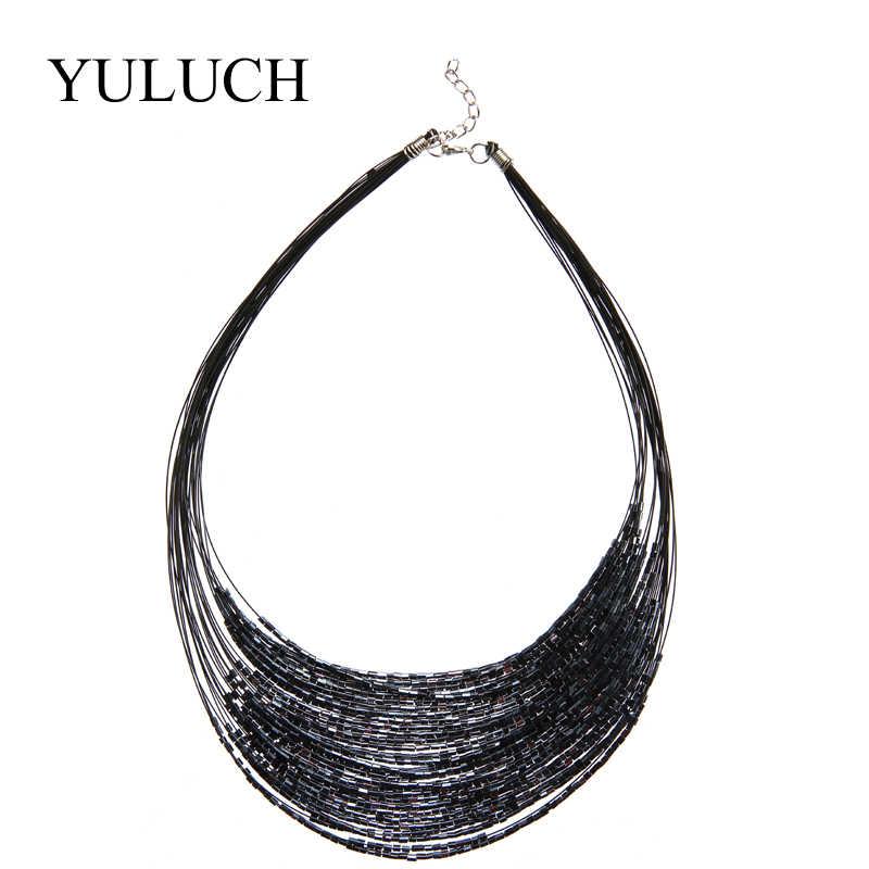 Moda de moda de múltiples capas de gafas con cuentas collar Torques para las mujeres oro/negro grande hecho a mano joyería de piedra Shaining collar venta