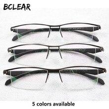 BCLEAR Nieuwe Mannen Business Brillen Frame Half Velg Merk Titanium Legering Bijziendheid Bril Ultralight Mode Vierkante Brilmonturen