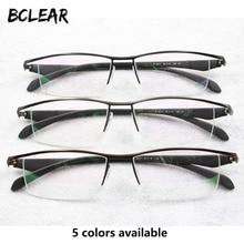 BCLEAR nowych mężczyzna biznes okulary rama pół obręczy marki stopu tytanu okulary dla osób z krótkowzrocznością Ultralight moda kwadratowe oprawki do okularów