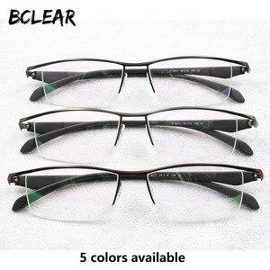 Image 1 - BCLEAR חדש גברים עסקי משקפיים מסגרת חצי רים מותג טיטניום סגסוגת קוצר ראייה משקפיים האולטרה אופנה כיכר מסגרות