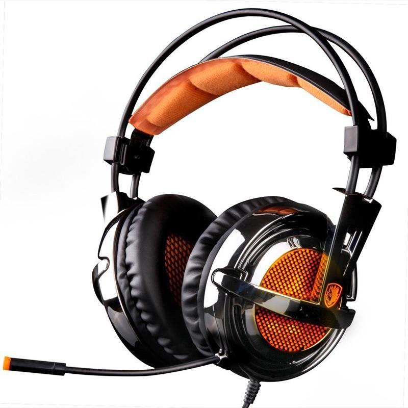 Stereo Over-Ear Game Gaming Headset Improved Version Headphone with Microphone for Laptop PC (Black & Orange)
