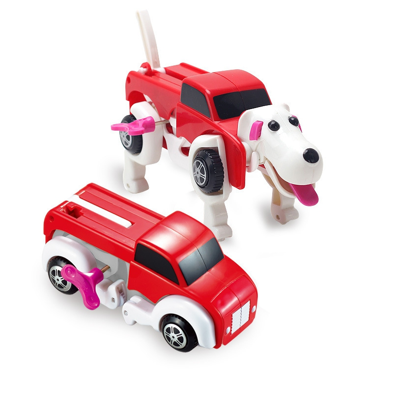 14cm cool automatic transform dog car vehicle clockwork wind up toy for children kids boy girl toy gift in diecasts toy vehicles from toys hobbies on