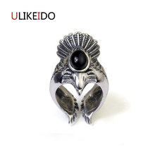 100% Pure 925 Sterling Silver Jewelry Eagle Rings Black Ag ate Wide Version Men Signet Ring For Women Christmas Gift 1055 925 pure silver christmas bells silver pendants