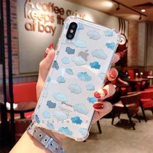 Jaomax Soft Silicone Transparent Shockproof Bule Clouds Anti-fall Phone Case