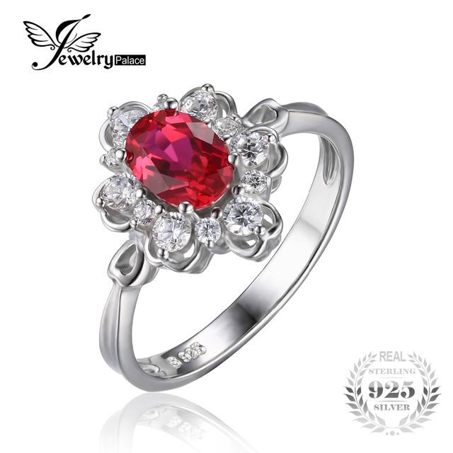Jewelrypalace elegante 1.5ct óvalo creado rojo rubí anillo de promesa de compromiso aniversario 925 de plata esterlina joyería fina 2017 nuevo