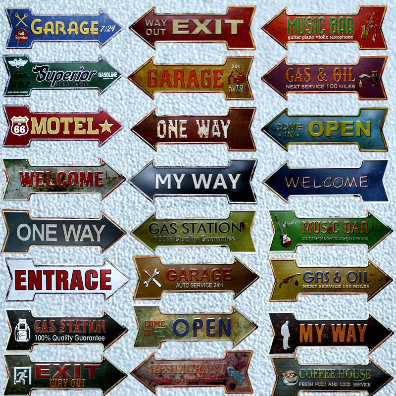 EXIT WAY OUT Arrow Light Up Hanging Sign Plaque Diner Retro Vintage Chic