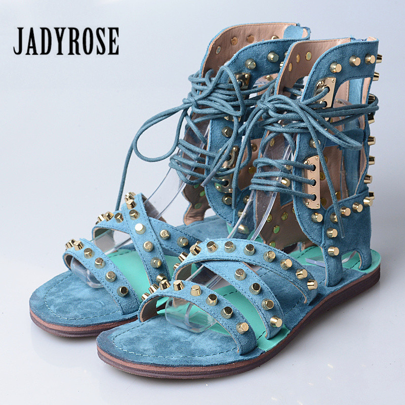 Jady Rose 2019 New Rivets Studded Summer Women Sandals Suede Lace Up Hollow Out Gladiator Sandals