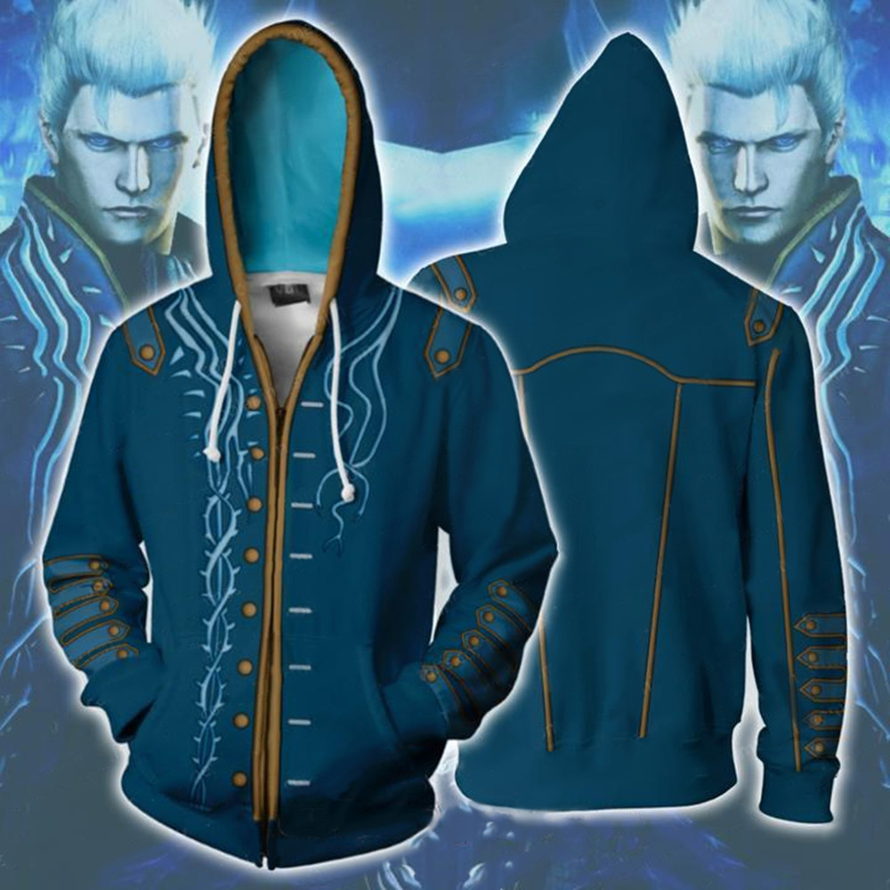 Hot Game Devil May Cry 3 Costumes Vergil Cosplay Men's and women coat 3D Hoodies Zip 3D Print Hoody Sweatshirt Spring Streetwear