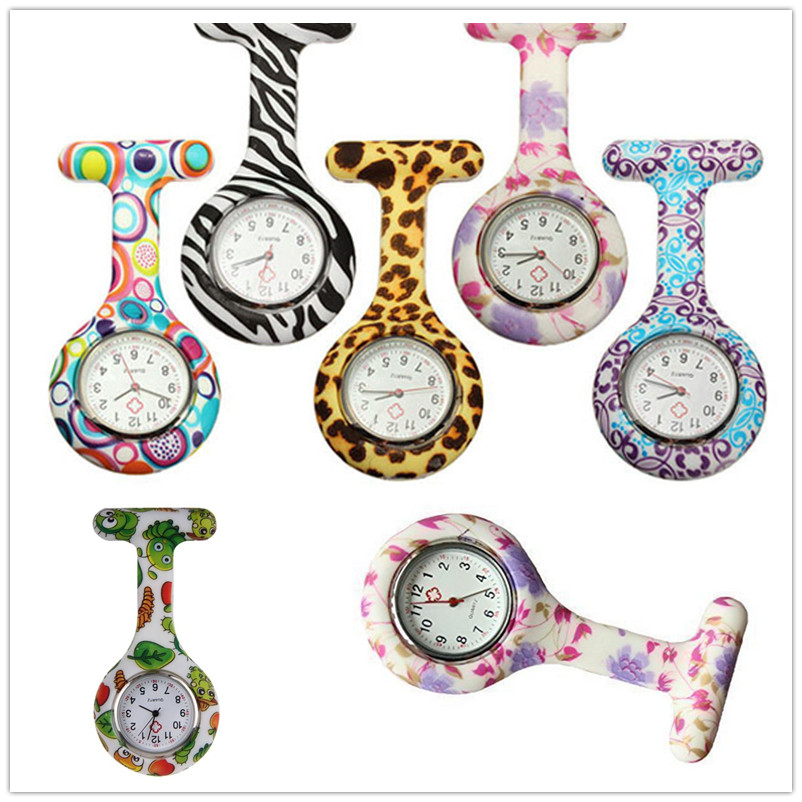 Free Shipping Silicone Stainless Round Dial Quartz Fob Woman Quartz Pocket Watch Nurse Watch Fob Hanging Medical