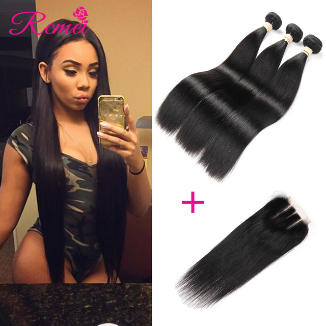 7A Brazilian Straight Hair with Closure 3 bundles with Closure Brazilian Virgin Hair with Closure Cheap Human Hair With Closure