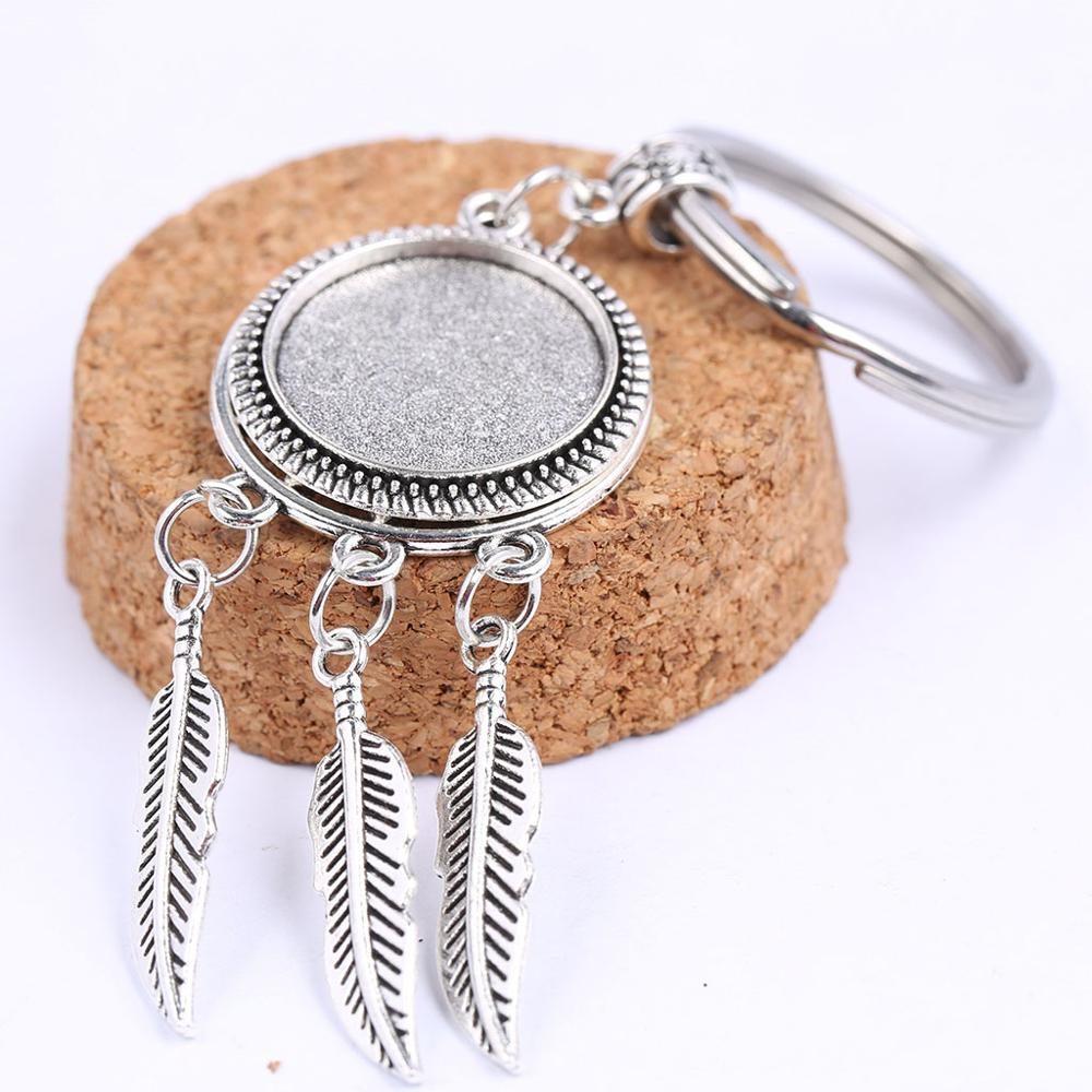 Onwear 2pcs Fit 20mm Round Antique Silver Dream Catcher Cabochon Keychain Base Settings Diy Keyring Pendant Tray For Key Chain
