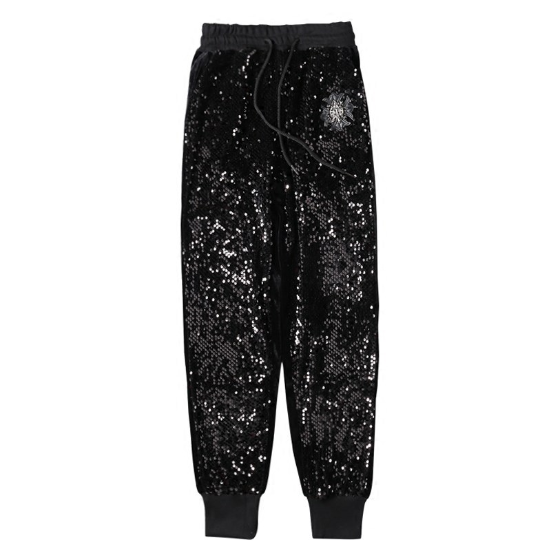Ladies Sequined Harem   Pants   Personality Vogue Bling Bling Pencil Trousers Women Black Hip Pop   Pants   Pantalon