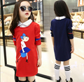 2016 Girls Spring False Two Piece Shirts Collar Long Sleeve Dresses Children Casual Cartoon Baby Dolls Printing Dress Kids Dress