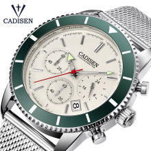 CADISEN Mens Watches Sports-Clock Stainless-Steel Waterproof Top-Brand Simple Luxury