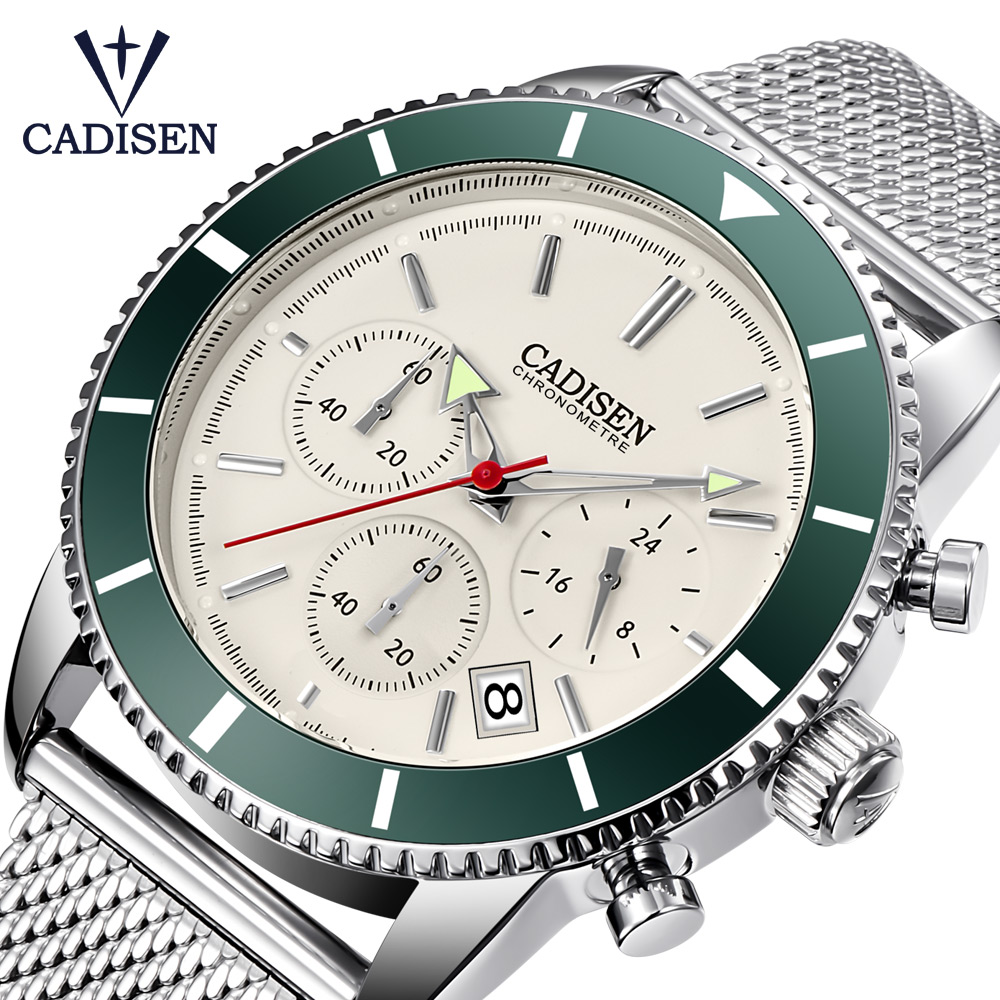 CADISEN Watch Men Top Brand Luxury Quartz Wrist Watches Stainless steel Date Simple Casual Mens Watches Waterproof Timer Clock