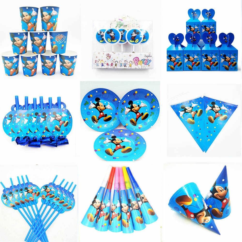 Микки Маус принадлежности для вечерние Минни Маус салфетки чашки тарелки воздушный шар соломенные свечи попкорн вилки День рождения украшения Дети
