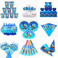 Mickey Mouse Party Supplies Minnie Napkins cups plates balloon Straw candles popcorn Forks birthday party decorations kids