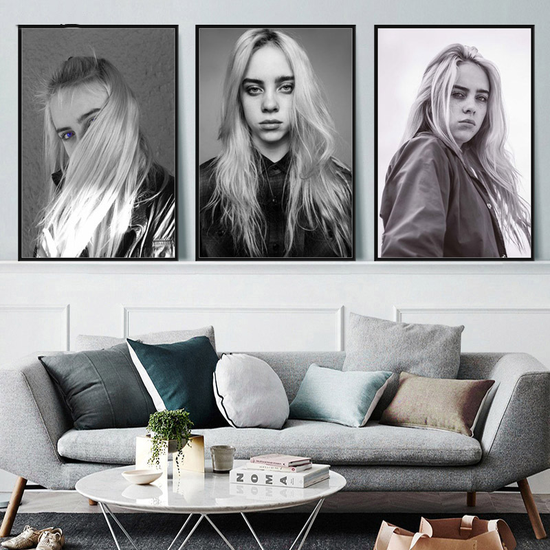 Canvas Painting Nordic Style Wall Art Poster Billie Eilish Modular Pictures Singer Star Hd Prints Home Decoration For Girls Room