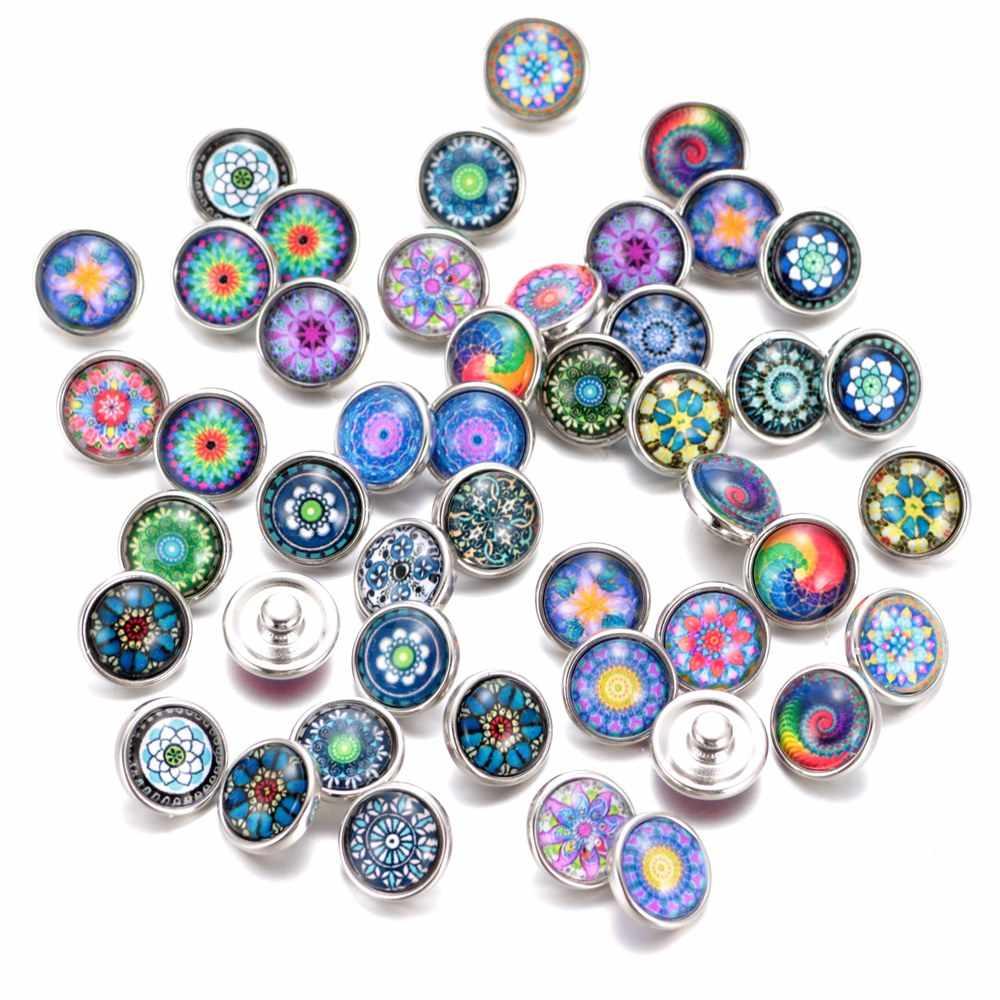 20 sztuk/partia mieszane kolory i wzór 12mm szkło przystawki przycisk biżuteryjny Faceted szkło przystawki przystawki przystawki kolczyki bransoletka biżuteria