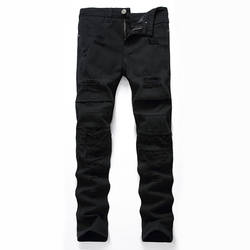 Mcik Здравствуйте Hi-street рваные джинсы брюки черные прямые разрушенные джинсовые брюки рваная уличная одежда джинсы плиссированные