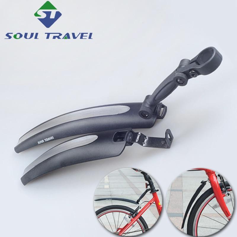 Soul Travel 16 <font><b>20</b></font> Inch Cycling Plastic Folding Bike Fender Dirt Mud Bridge Front Rear Fenders Set Quick Release Bicycle Mudguard