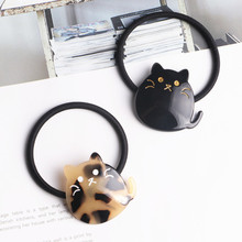 Korea Acrylic Cat Cartoon Hair Accessories Bows Elastic Bands Rubber Band Ring Headbands For Women