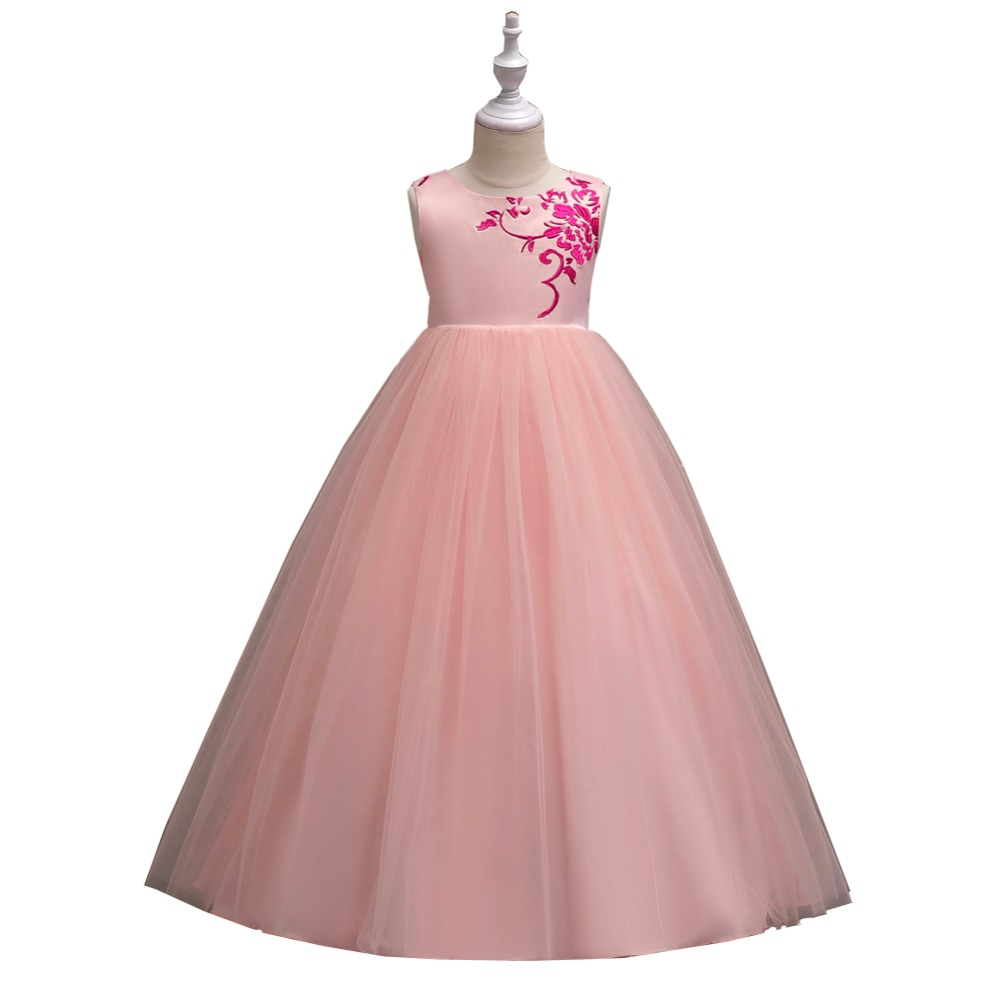 Kids Girls Wedding Flower Girl Dress Princess Party Pageant Formal Dress Emb Flower Sleeveless Tulle Long Dresses 4-15Y new girls rainbow tutu dress tulle flower girl princess dress girls party wedding prom pageant dresses kids evening gowns