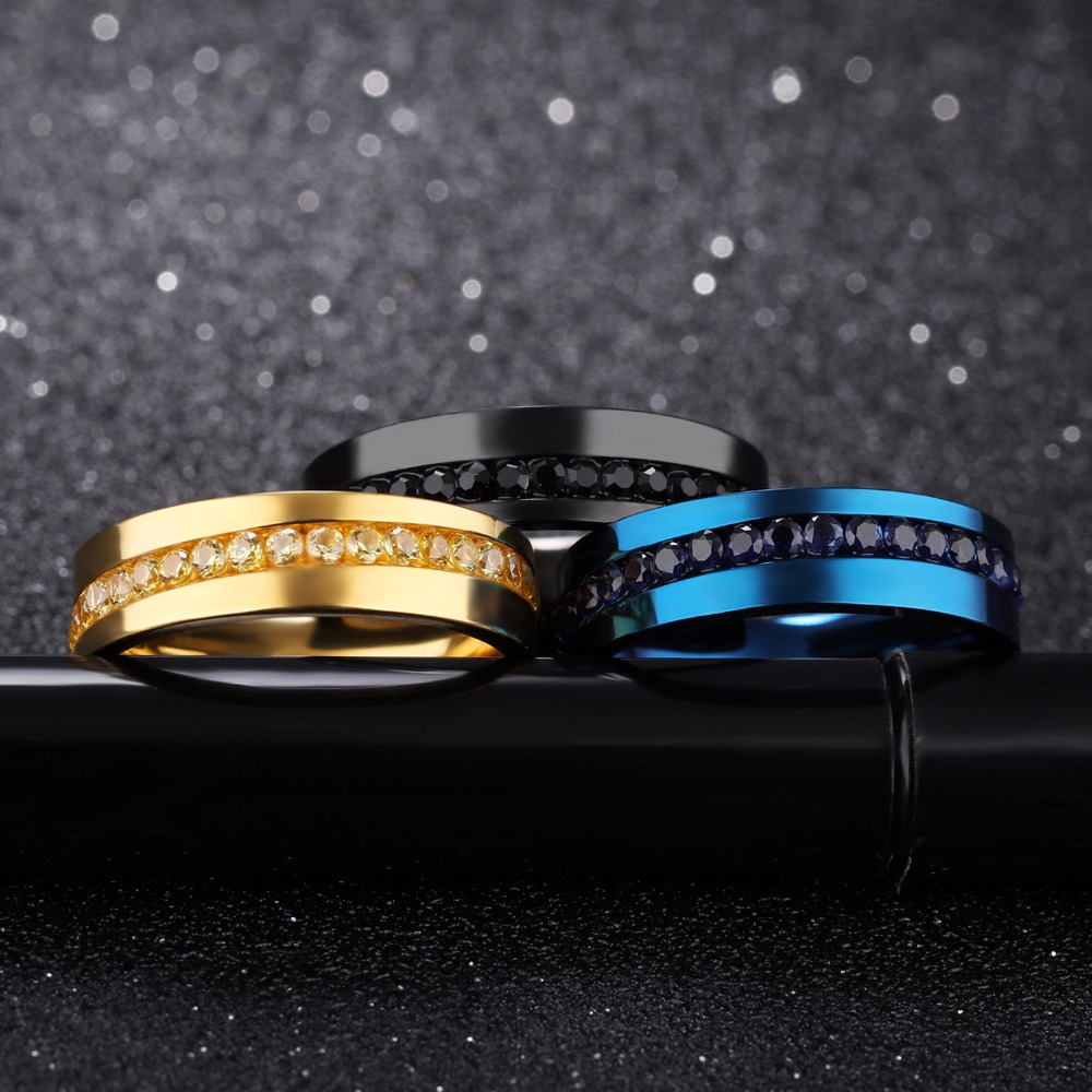 New Arrivals Stainless Steel Blue Color Men Ring Trendy 6mm Black Color Ring Men Jewelry Gold Color Shiny Rhinestones Rings
