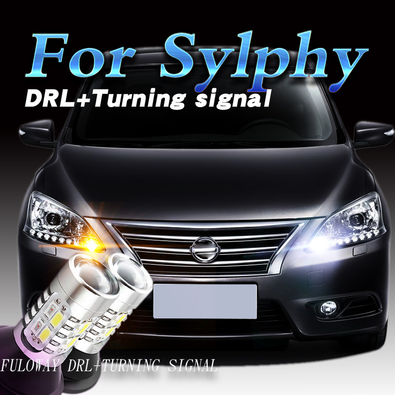 Car-styling For Nissan Sylphy 2012 13-17 LED DRL Daytime Running Lights With Turning Signal External Day Light DRL Accessories akd car styling led drl for accord 2012 2014 eye brow light led external lamp signal parking accessories