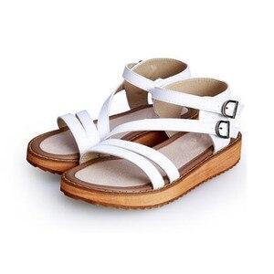 Image 5 - TIMETANG אישה סנדלי נעלי 2018 קיץ סגנון טריזי סנדלים שטוחים נשים אופנה רומא נעלי פלטפורמת עור אמיתי