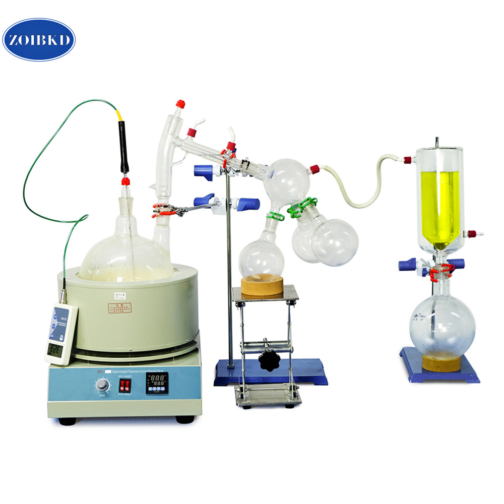 Équipement de laboratoire USA 5000 mL/5L Kit de Distillation à courte distance 110 V/220 V avec thermomètre numérique/manteau chauffant/piège à froid