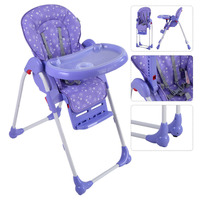 Adjustable Baby High Chair Infant Toddler Feeding Booster Seat Folding Purple Blue Green Orange Purple 4