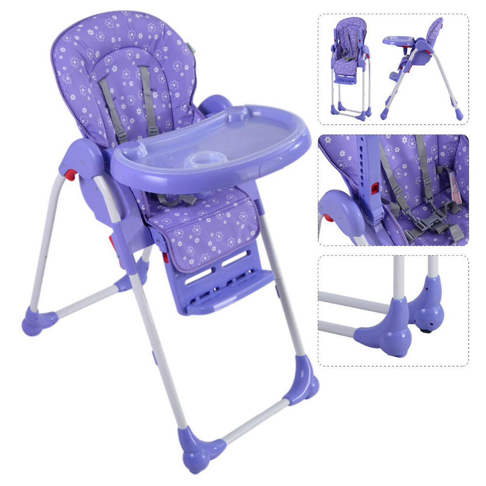 Adjustable Baby High Chair Infant Toddler Feeding Booster Seat Folding Purple Blue Green Orange Purple 4 Color BB4544