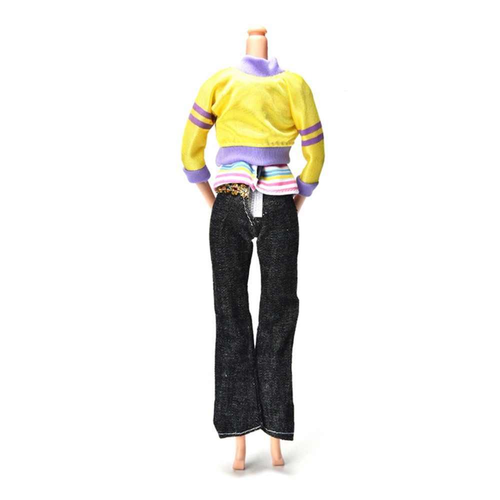 3 ピース/セット服の春秋黄色のコート黒パンツ虹ベスト人形ファッション手作り服