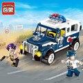 Policía enlighten educativos bloques de construcción de juguetes para los niños regalos 2 mini cars compatible con legoe