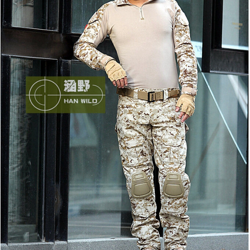Tactical Combat Uniform Camouflage Suit Pants and Jacket Set with Knee Pads Army Military CS Shooting Hunting Clothes military tactical uniform multicam hunt army combat shirt uniform pants with knee pads camouflage hunting clothes ghillie suit
