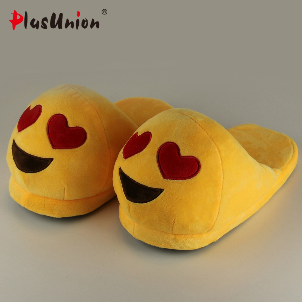emoji slippers women cute indoor warm shoes adult plush slipper winter furry house animal home cosplay costumes autumn pantoufle new 2017 house shoes cute happy big feet style giant toe footwear winter warm plush slippers soft unisex indoor shoes