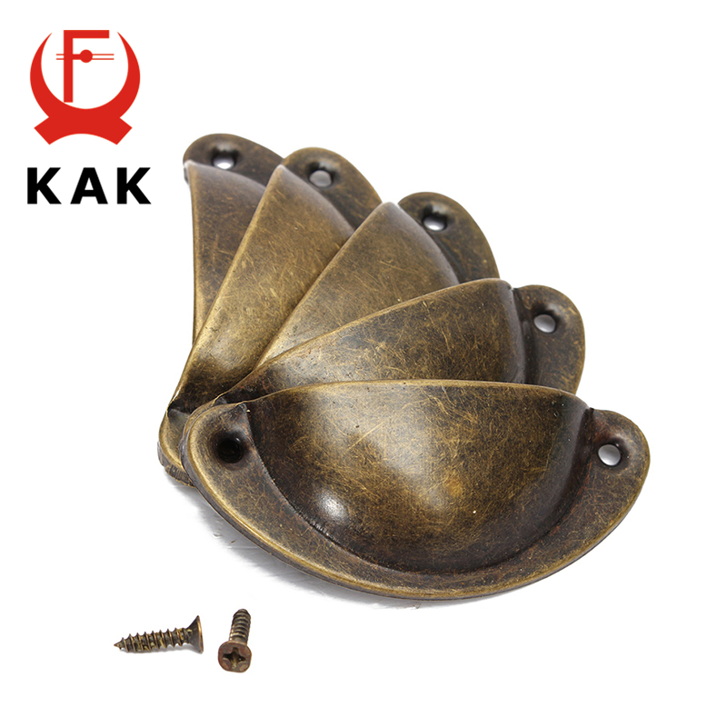 KAK 8PCS Mini Bronze Metal Handles 50x20mm ZAKKA Box Pulls Drawer Knobs Shell Cabinet Handle Antique Brass Furniture Handle