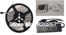 Jeu de bandes de LED rvb 5 M, bande non LED 30 LED étanche s/m SMD5050, contrôleur IR 24 touches, alimentation 2.5A 30 W