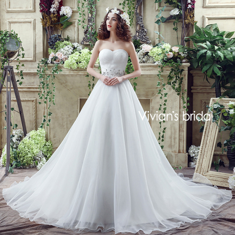 Simple Ball Gown Wedding Dresses Sweetheart Luxury Crystal Ball ...