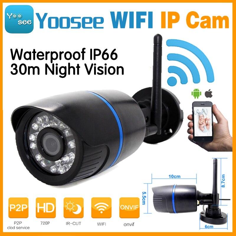 Yoosee App Bullet 720 P IP WIFI Sans Fil Caméra 1.3MP 960 P IRCut HD Sécurité Bullet Extérieure Étanche de Vision Nocturne 30 m P2P ONVIF