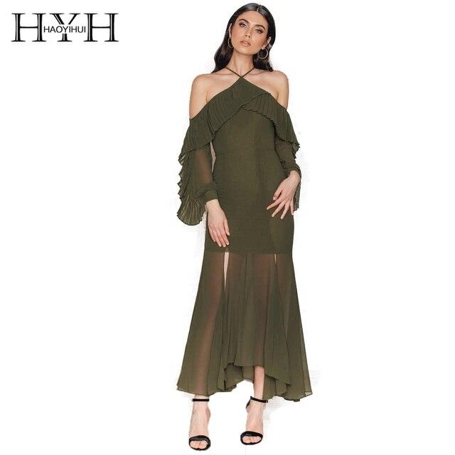 e8b7fb8dc4c6 HYH Haoyihui Elegant Longline Split Dress Ball Gown Sexy Sheer Skintight  Dress Drape Tie-neck Cold Shoulder Frill Solid Dress