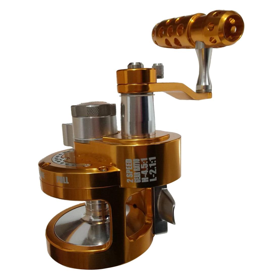 BMDT-Full Metal Reel Double Speed Trolling Fishing Reel 30kgs Power Drag Deep Sea Saltwater Boat Reel SYD70 4.5:1 2.1:1 left