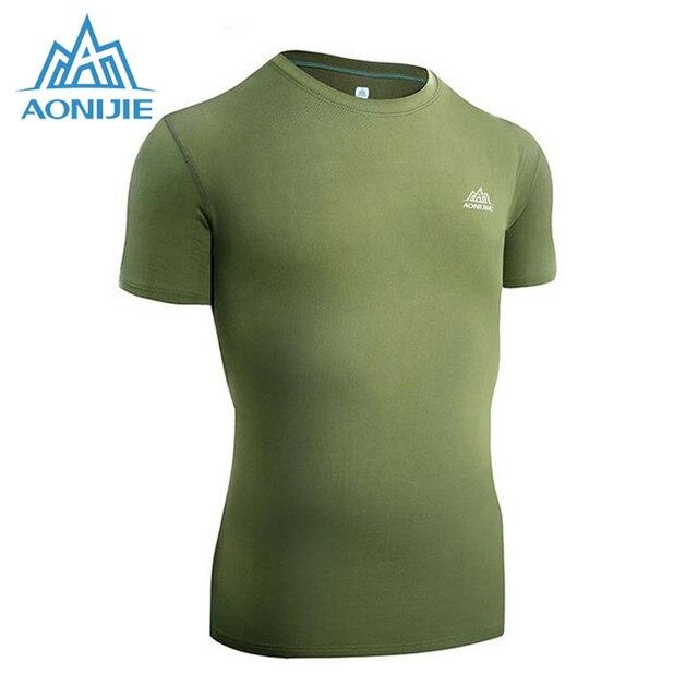e586a601792b7 AONIJIE Running Sports T-Shirt hombres ajuste seco deportes de verano manga  corta de secado