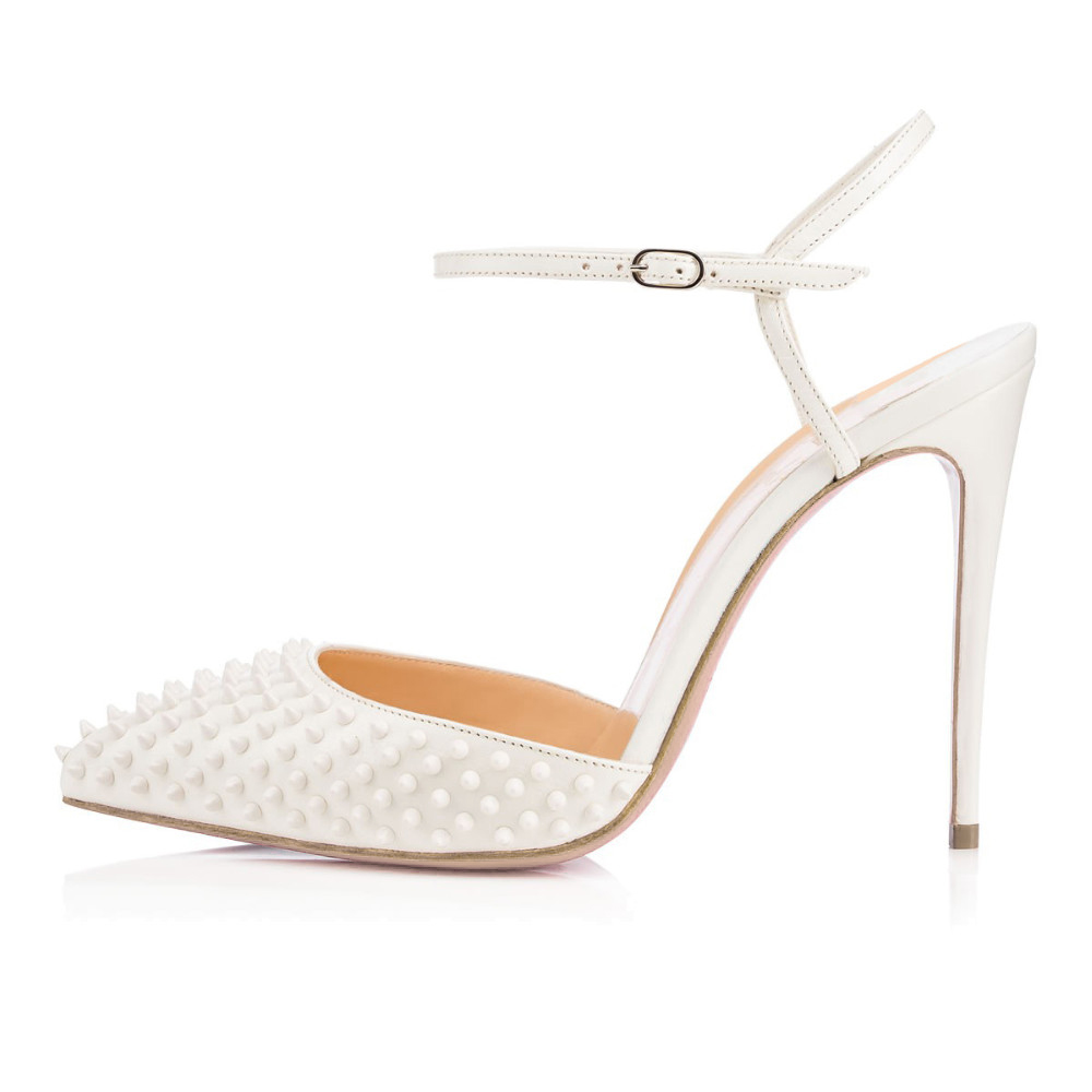 ФОТО Inisastyle 2016 New fashion buckle strap stiletto High Heel ladies Summer Women Shoes round Toe with rivets Pumps  Big Size 4-15