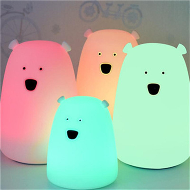 Bear Cat LED silicone night Light Children Baby Bedroom Night Lamp Cute Bear ABS Silicone Touch Sensor light 2 Modes LED lamp silicone bear