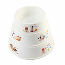 Cartoon Print Plastic Dog Cat Bowl Anti-Skid Portable Feeding and Watering Pet Supplies
