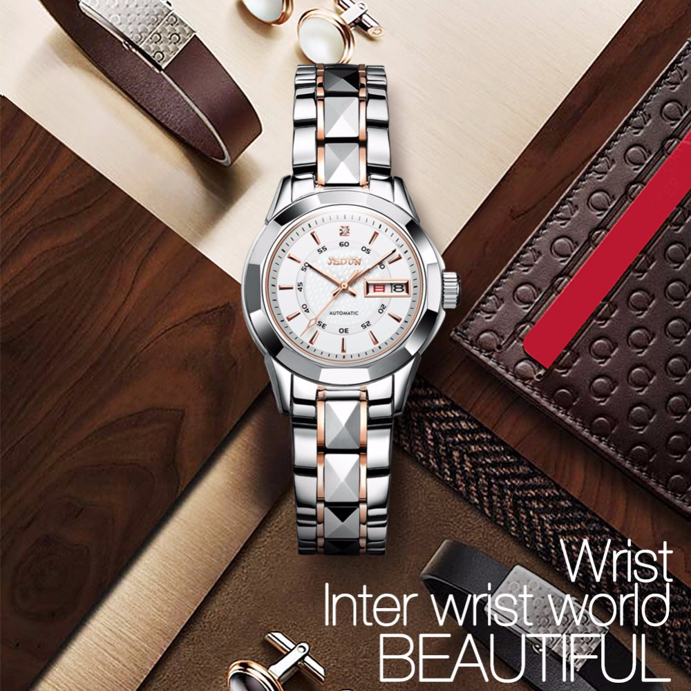 Women watches Luxury JSDUN Top Brand Tungsten Steel Auto date waterproof mechanical watches Fashion Dress clock relogio feminino