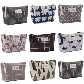eTya Women Cosmetic Bags Ladies Zipper Makeup Bag Canvas Phone Coin Handbag Travel Neceser Beauty Wash Organizer Bag Pouch